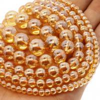 Natürliche klare Quarz Perlen, Klarer Quarz, rund, plattiert, verschiedene Größen vorhanden, orange, Bohrung:ca. 1mm, verkauft per ca. 14.9 ZollInch Strang