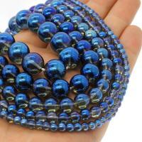 Natürliche klare Quarz Perlen, Klarer Quarz, rund, plattiert, verschiedene Größen vorhanden, blau, Bohrung:ca. 1mm, verkauft per ca. 14.9 ZollInch Strang