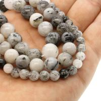 Schwarzer Rutilquarz Perle, rund, verschiedene Größen vorhanden, weiß und schwarz, Grade A, Bohrung:ca. 1mm, verkauft per ca. 14.9 ZollInch Strang