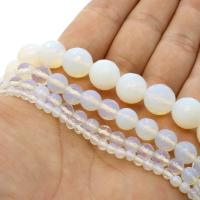 Opal Perlen, rund, verschiedene Größen vorhanden & facettierte, weiß, Bohrung:ca. 1mm, verkauft per ca. 14.9 ZollInch Strang