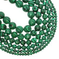 Malachit Perlen, rund, verschiedene Größen vorhanden & facettierte, grün, Bohrung:ca. 1mm, verkauft per ca. 14.9 ZollInch Strang