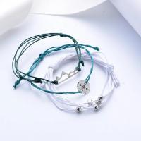 Wachsschnur Armband, mit Zinklegierung, antik silberfarben plattiert, einstellbar & für Frau, Länge:ca. 6.3-8.6 ZollInch, verkauft von setzen