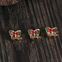 Zinklegierung Tier Perlen, Schmetterling, goldfarben plattiert, Emaille, frei von Nickel, Blei & Kadmium, 8x9mm, Bohrung:ca. 2mm, 10PCs/Tasche, verkauft von Tasche