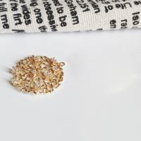Messing Anhänger, Helle Goldfarbe überzogen, DIY & Micro pave Zirkonia & hohl, 26x24mm, ca. 5PCs/Menge, verkauft von Menge