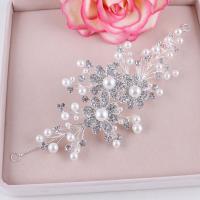 Braut Haar Blumen, Zinklegierung, mit ABS-Kunststoff-Perlen, silberfarben plattiert, für Frau & mit Strass, weiß, frei von Nickel, Blei & Kadmium, 220x8mm, verkauft von PC