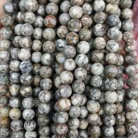 Leopardhaut Stein, rund, natürlich, verschiedene Größen vorhanden, rot, Bohrung:ca. 1mm, verkauft per ca. 15 ZollInch Strang