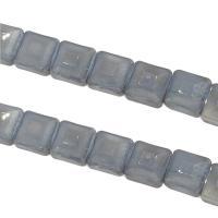 Mode Glasperlen, Glas, Quadrat, DIY & facettierte, grau, 13x13x8mm, Bohrung:ca. 1mm, 50PCs/Strang, verkauft von Strang