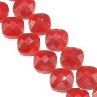 Mode Glasperlen, Glas, DIY & facettierte, rot, 15x15x9mm, Bohrung:ca. 1mm, 50PCs/Strang, verkauft von Strang
