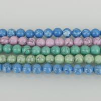 Türkis Perlen, rund, keine, 8x8x8mm, Bohrung:ca. 1.5mm, ca. 50PCs/Strang, 5SträngeStrang/Menge, verkauft per ca. 16 ZollInch Strang
