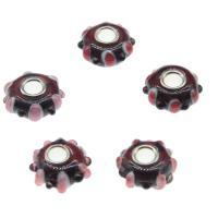 Lampwork Perlen European Stil, mit Messing, rund, dunkelrot, 15x7mm, Bohrung:ca. 4mm, 50PCs/Tasche, verkauft von Tasche