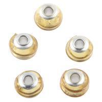 Lampwork Perlen European Stil, mit Messing, DIY, gelb, 15x11mm, Bohrung:ca. 4.3mm, 20PCs/Tasche, verkauft von Tasche