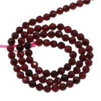 Natürlicher Granat Perlen, rund, DIY & verschiedene Größen vorhanden & facettierte, Bohrung:ca. 1mm, verkauft per ca. 14.9 ZollInch Strang