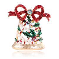 Zinklegierung Brosche, mit ABS-Kunststoff-Perlen, Weihnachtsglocke, goldfarben plattiert, für Frau & Emaille & mit Strass, farbenfroh, frei von Nickel, Blei & Kadmium, 36x49mm, verkauft von PC
