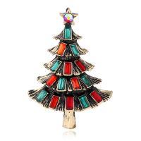 Zinklegierung Brosche, mit Kristall, Weihnachtsbaum, plattiert, unisex, keine, frei von Nickel, Blei & Kadmium, 30mm, verkauft von PC