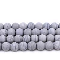 Holzmaserung Stein Perlen, Grain Stein, rund, verschiedene Größen vorhanden & satiniert, grau, verkauft per ca. 14.9 ZollInch Strang