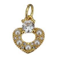 Messing Herz Anhänger, mit Kunststoff Perlen, vergoldet, mit kubischem Zirkonia, frei von Nickel, Blei & Kadmium, 9.5x11.5x3mm, Bohrung:ca. 3.5mm, 20PCs/Menge, verkauft von Menge