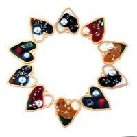 Messing Herz Anhänger, mit ABS-Kunststoff-Perlen & Muschel, flacher Herz, goldfarben plattiert, Emaille, keine, frei von Nickel, Blei & Kadmium, 40x35x6mm, Bohrung:ca. 1.9mm, 50PCs/Tasche, verkauft von Tasche