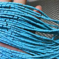 Türkis Perlen, Zylinder, poliert, DIY, blau, 2-4mm, ca. 97PCs/Strang, verkauft per ca. 15 ZollInch Strang