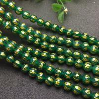 Natürliche grüne Achat Perlen, Grüner Achat, rund, poliert, DIY & verschiedene Größen vorhanden, grün, verkauft per ca. 15 ZollInch Strang