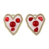 Messing Herz Anhänger, mit ABS-Kunststoff-Perlen & Muschel, flacher Herz, goldfarben plattiert, Emaille, frei von Nickel, Blei & Kadmium, 41x35x6mm, Bohrung:ca. 3mm, 50PCs/Tasche, verkauft von Tasche