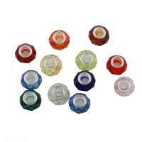 Harz Schmuckperlen, mit Messing, Platinfarbe platiniert, facettierte & großes Loch, 14*8mm, Bohrung:ca. 5mm, 100PCs/Tasche, verkauft von Tasche