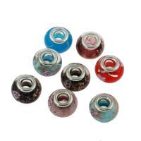Goldsand Lampwork Perlen, mit Messing, Platinfarbe platiniert, großes Loch, 14*11mm, Bohrung:ca. 5mm, 100PCs/Tasche, verkauft von Tasche