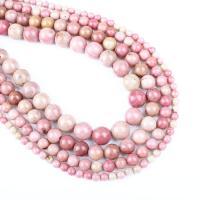 Rhodonit Perlen, rund, verschiedene Größen vorhanden, Rosa, Bohrung:ca. 1mm, verkauft per ca. 14.9 ZollInch Strang