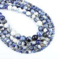 Sodalith Perlen, Sosalith, rund, verschiedene Größen vorhanden, blau, Bohrung:ca. 1mm, verkauft per ca. 14.9 ZollInch Strang