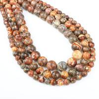 Leopardhaut Stein, rund, verschiedene Größen vorhanden, rot, Bohrung:ca. 1mm, verkauft per ca. 14.9 ZollInch Strang
