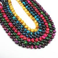 Tigerauge Perlen, rund, verschiedene Größen vorhanden, keine, Bohrung:ca. 1mm, verkauft per ca. 14.9 ZollInch Strang