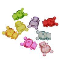 Acryl Anhänger, Bär, DIY & transparent, gemischte Farben, 37x24x15mm, Bohrung:ca. 3mm, ca. 100PCs/Tasche, verkauft von Tasche