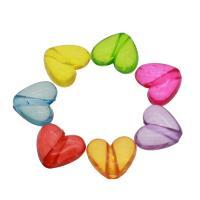 Acryl Anhänger, Herz, DIY & transparent, gemischte Farben, 17x15x7mm, Bohrung:ca. 3mm, ca. 155PCs/Tasche, verkauft von Tasche