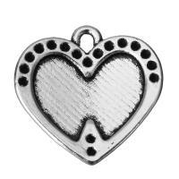 Zinklegierung Herz Anhänger, Schwärzen, Silberfarbe, frei von Nickel, Blei & Kadmium, 16.5x16.5x3mm, Bohrung:ca. 2mm, 100PCs/Menge, verkauft von Menge