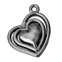 Zinklegierung Herz Anhänger, hohl & Schwärzen, frei von Nickel, Blei & Kadmium, 21x28.5x4mm, Bohrung:ca. 2.5mm, 100PCs/Menge, verkauft von Menge