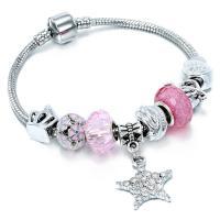 Europa Armband Kette, Zinklegierung, mit Glasperlen, plattiert, verschiedene Größen vorhanden & für Frau, frei von Nickel, Blei & Kadmium, verkauft von Strang