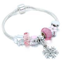 Europa Armband Kette, Zinklegierung, mit Glasperlen, plattiert, frei von Nickel, Blei & Kadmium, verkauft von Strang