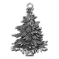 Zinklegierung Weihnachten Anhänger, Baum, Schwärzen, Silberfarbe, frei von Nickel, Blei & Kadmium, 42.5x68x3mm, Bohrung:ca. 4.5mm, 50PCs/Menge, verkauft von Menge