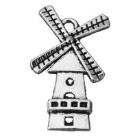 Zinklegierung Gebäude Anhänger, Burg, Schwärzen, Silberfarbe, frei von Nickel, Blei & Kadmium, 15x26.5x2.5mm, Bohrung:ca. 2mm, 100PCs/Menge, verkauft von Menge