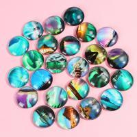 Kühlschrankmagnete, Glas, rund, Kunstdruck, gemischtes Muster & verschiedene Größen vorhanden, gemischte Farben, 100PCs/Tasche, verkauft von Tasche