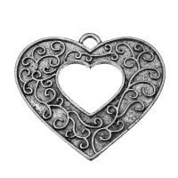 Zinklegierung Herz Anhänger, hohl & Schwärzen, Silberfarbe, frei von Nickel, Blei & Kadmium, 39.5x35x2mm, Bohrung:ca. 4mm, 50PCs/Menge, verkauft von Menge