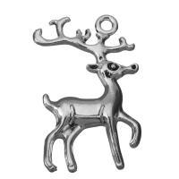 Zinklegierung Tier Anhänger, Hirsch, Schwärzen, Silberfarbe, frei von Nickel, Blei & Kadmium, 22.5x36.5x3mm, Bohrung:ca. 2.5mm, 100PCs/Menge, verkauft von Menge