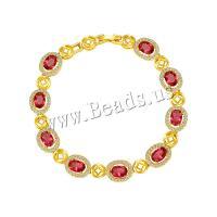 Kupferlegierung Armband, goldfarben plattiert, Micro pave Zirkonia & für Frau, keine, Länge:ca. 7.7 ZollInch, 2SträngeStrang/Menge, verkauft von Menge
