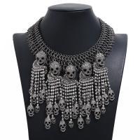 Mode-Fringe-Halskette, Zinklegierung, plattiert, für Frau & mit Strass, keine, frei von Nickel, Blei & Kadmium, 115x130mm, verkauft per 13.78 ZollInch Strang