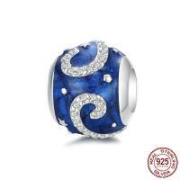 925 Sterlingsilber European Perlen, 925er Sterling Silber, platiniert, Micro pave Zirkonia & für Frau & Emaille, 11x10mm, verkauft von PC
