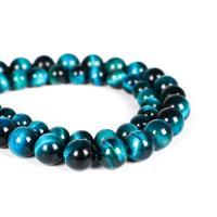 Tigerauge Perlen, rund, poliert, verschiedene Größen vorhanden, blau, verkauft per ca. 15.7 ZollInch Strang