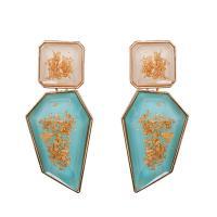 Acryl Schmuck Ohrring, mit Zinklegierung, Zinklegierung Stecker, goldfarben plattiert, für Frau, keine, 77x35mm, verkauft von Paar