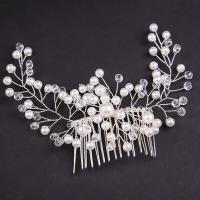 Dekoratives Haarkämmchen, Zinklegierung, mit Glasperlen, plattiert, für Frau & mit Strass, weiß, frei von Nickel, Blei & Kadmium, 200x60mm, verkauft von PC