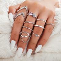 Zinklegierung Fingerring , Fingerring, plattiert, für Frau & mit Strass, frei von Nickel, Blei & Kadmium, verkauft von setzen