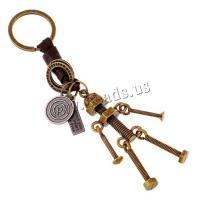 Schlüsselanhänger, Zinklegierung, mit Kunstleder & Eisen, Roboter, plattiert, unisex, frei von Nickel, Blei & Kadmium, 150x30mm, verkauft von PC