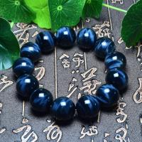 Natürliche Tiger Eye Armband, Tigerauge, rund, verschiedenen Qualitäten für die Wahl & verschiedene Größen vorhanden, blau, verkauft per ca. 6.9 ZollInch Strang